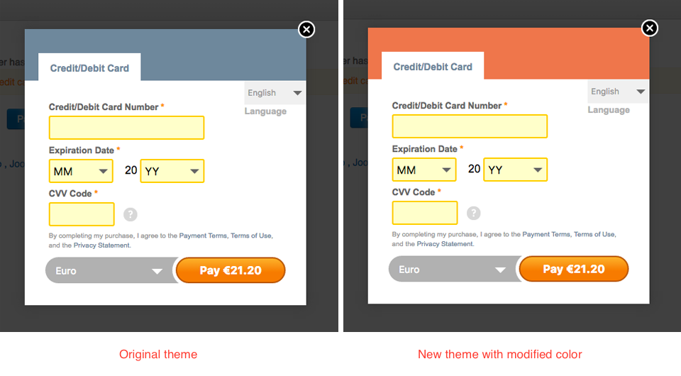 2Checkout Inline for Hikashop - default and custom colors