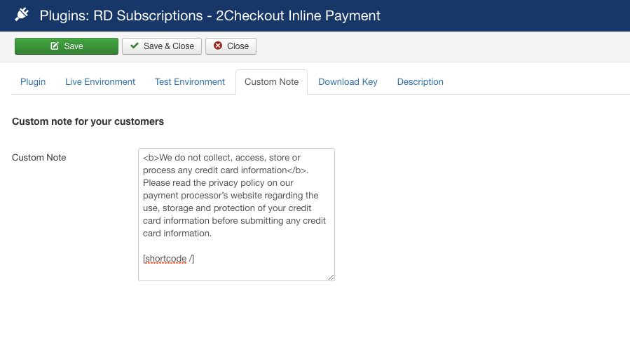 2Checkout Inline for RD-Subscriptions - Custom Note Setting