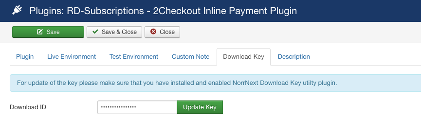 2Checkout Inline payment plugin for RD-Subscriptions - Download Key tab