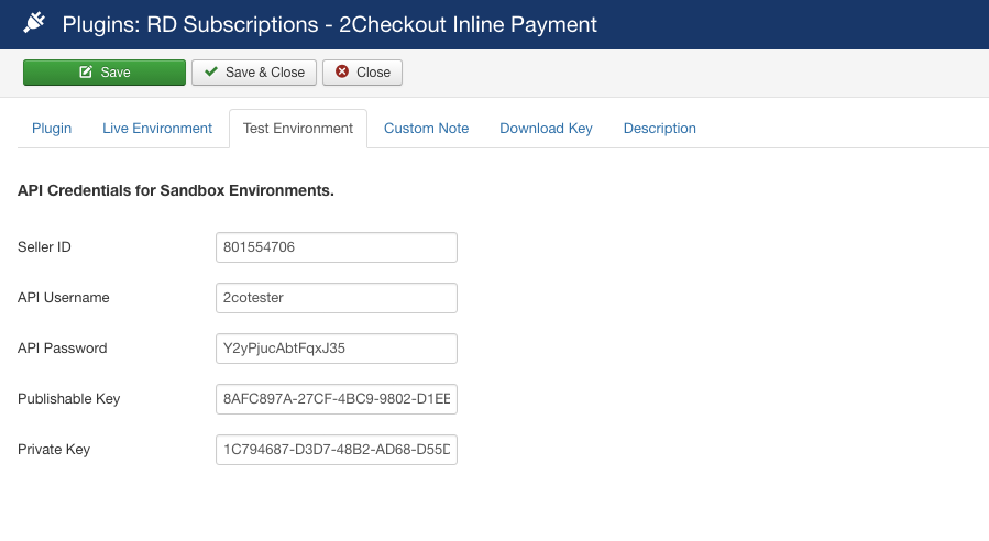2Checkout Inline for RD-Subscriptions - Test Environment Setting