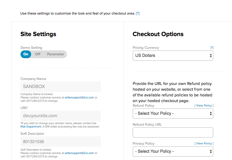 2Checkout Dashboard settings