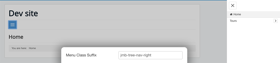 JMB Tree Pro - offcanvas menu opens on right