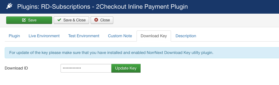 2Checkout Inline for RD-Subscriptions - Download Key