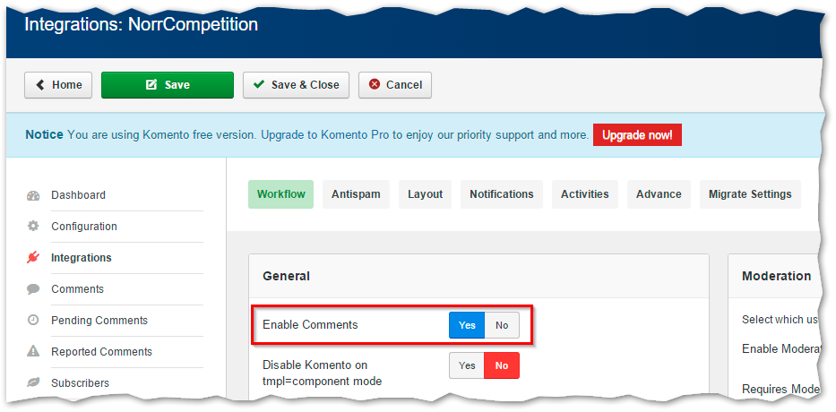Komento integration - enable comments