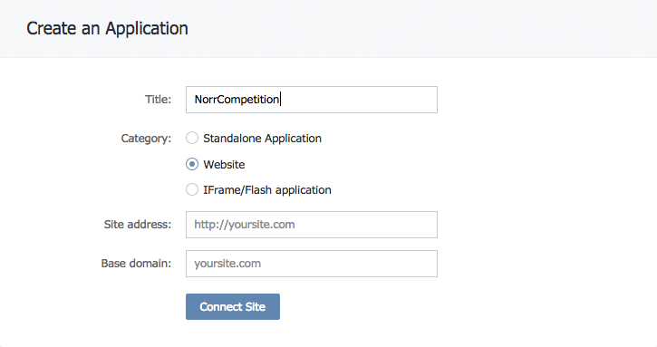 Creating an application in VK.com