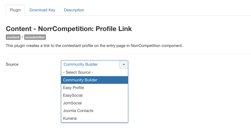 NorrCompetition Profile Link settings