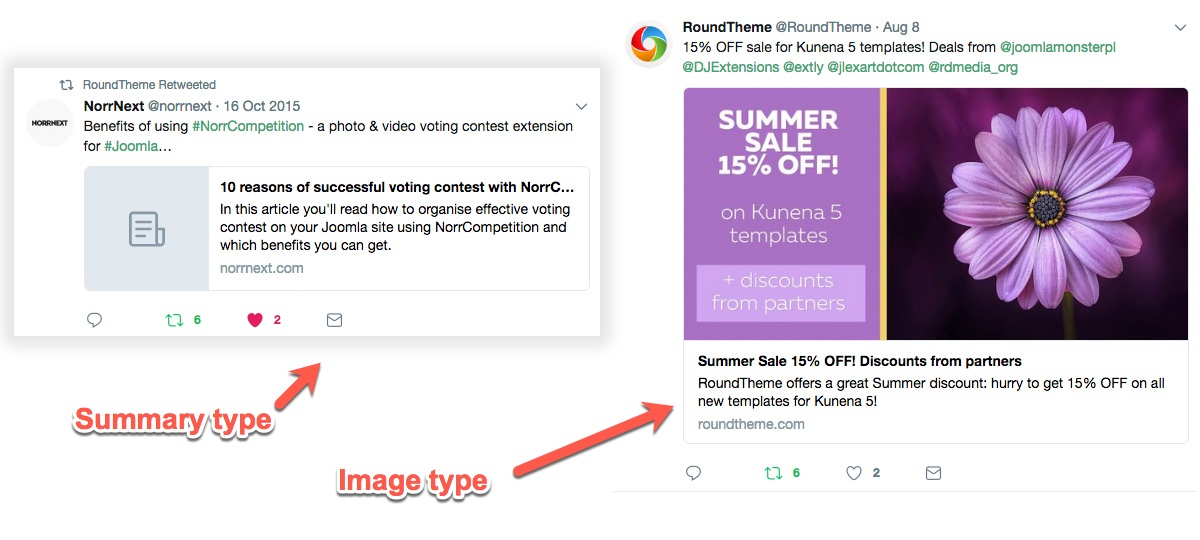 Example of Twitter Card Types