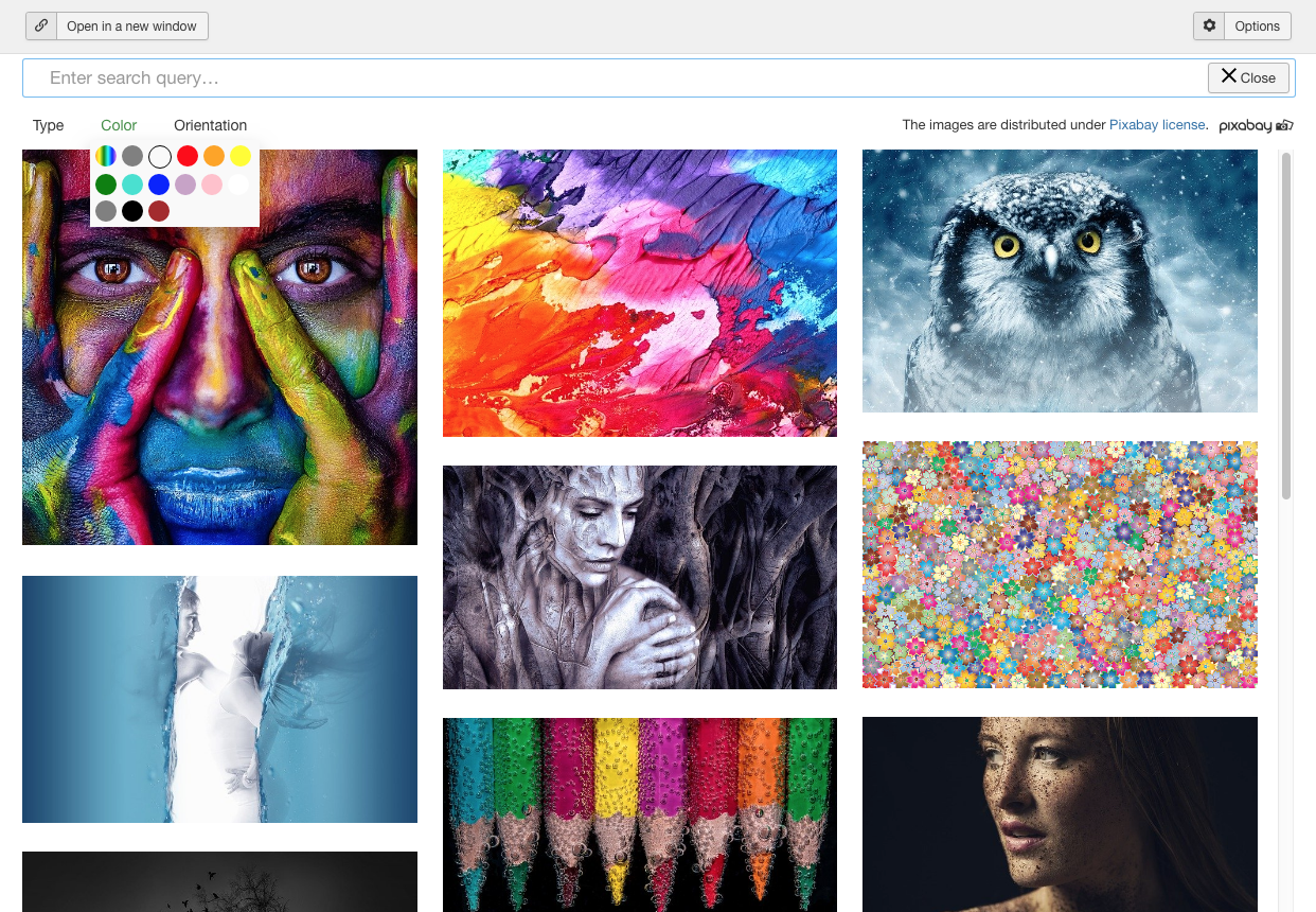 Search images via Pixabay in Joomla