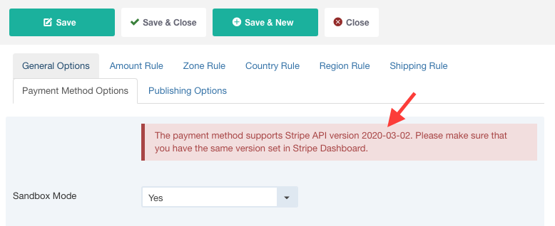 Check which Stripe API version is supported