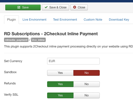 2Checkout Inline for RD-Subscriptions - Plugin Settings