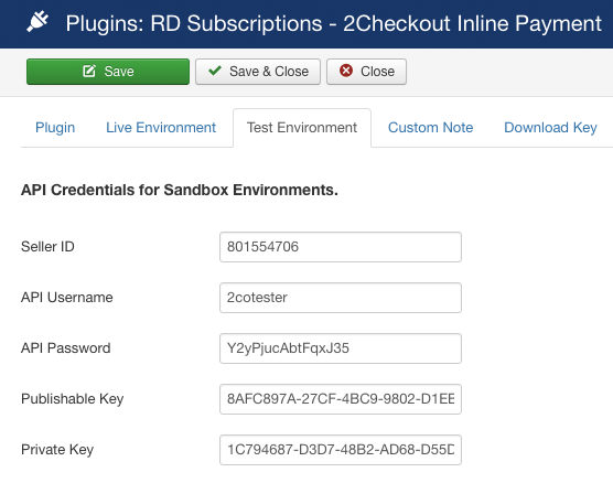 2Checkout Inline for RD-Subscriptions - Demo Environment