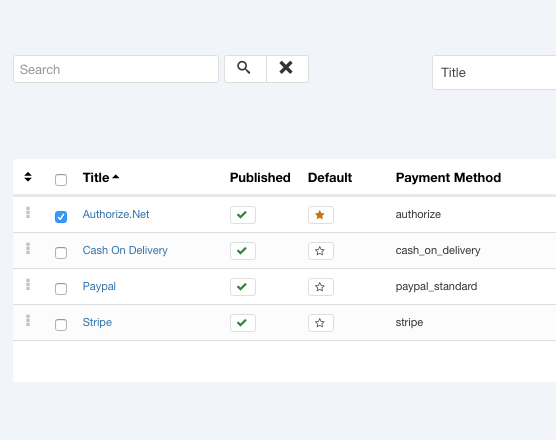 Authorize.Net payment method for Phoca Cart - Options