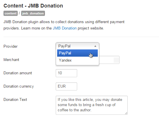 JMB Donation - backend settings