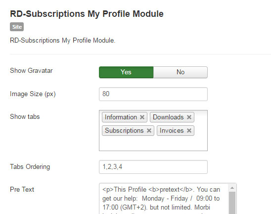 RD-Subscriptions My Profile Settings