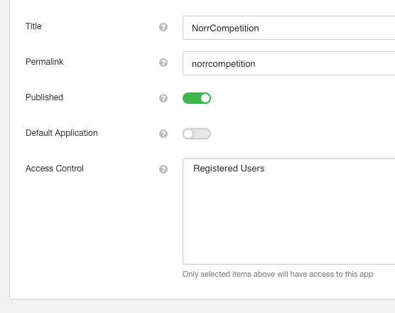 NorrCompetition Application for EasySocial - Options