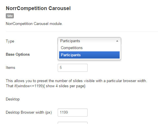 NorrCompetition Carousel Options