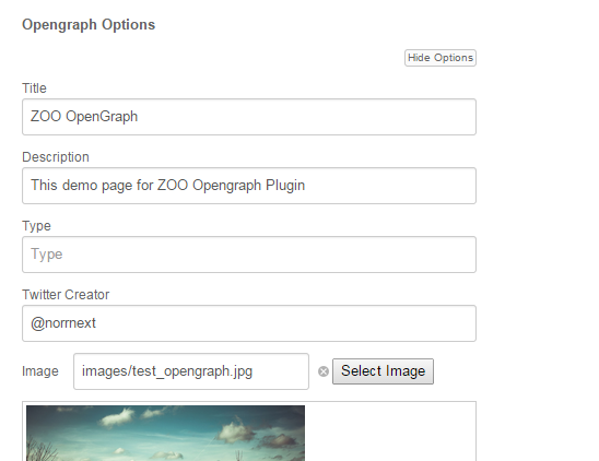 Open Graph for ZOO Settings