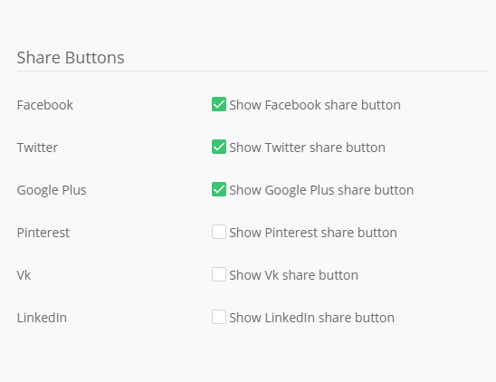 PKB Social Share - backend settings