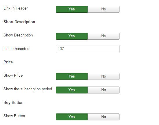 RD-Subscriptions products Settings