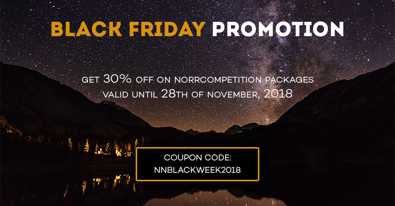 Black Friday Super Sale 2018: get 30% OFF on NorrCompetition. Partners' deals included