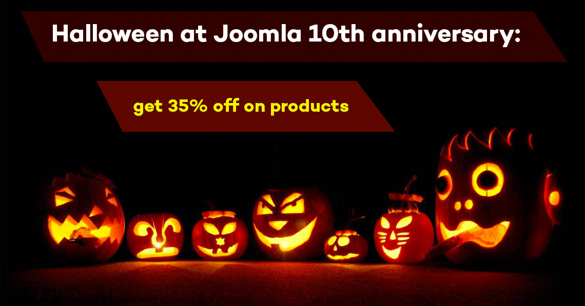 Halloween at Joomla 10th anniversary: get 35% off on products