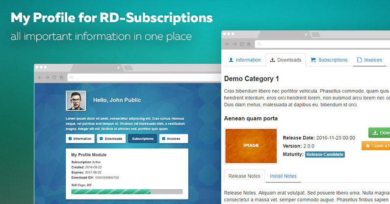 My Profile for RD Subscriptions module released