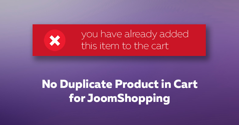 The release of No Duplicate Product in Cart for JoomShopping