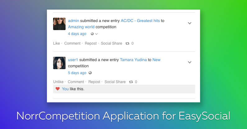 NorrCompetition Application for EasySocial is finally released