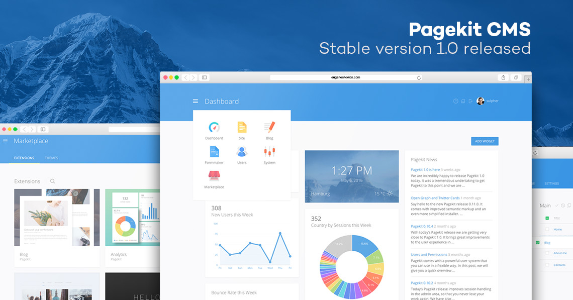 Pagekit CMS Stable version 1.0 released