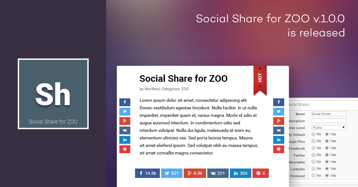 Social Share for ZOO 1.0.0 is released